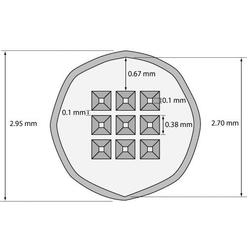 Silicon Dioxide 40 nm thick TEM Windows (9 windows) Nine Windows: (9) 100x100 m